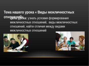 Тема нашего урока « Виды межличностных отношений» Цель урока: узнать условия