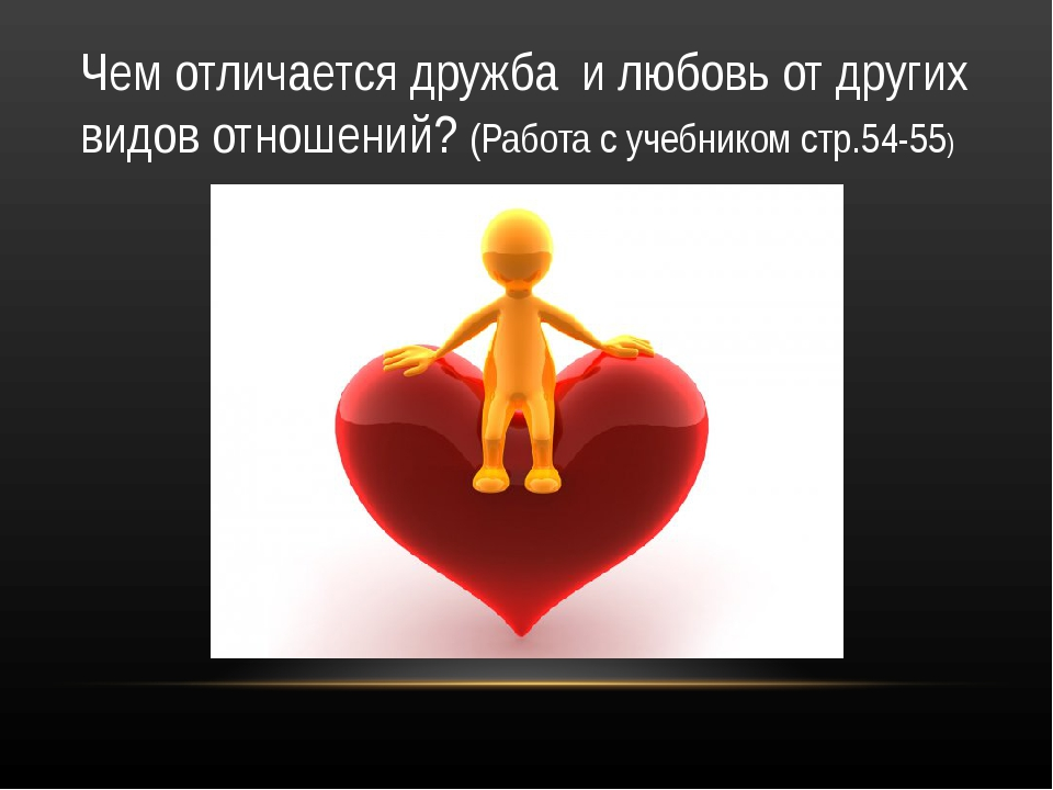 Чем отличается дружба и любовь от других видов отношений? (Работа с учебником...