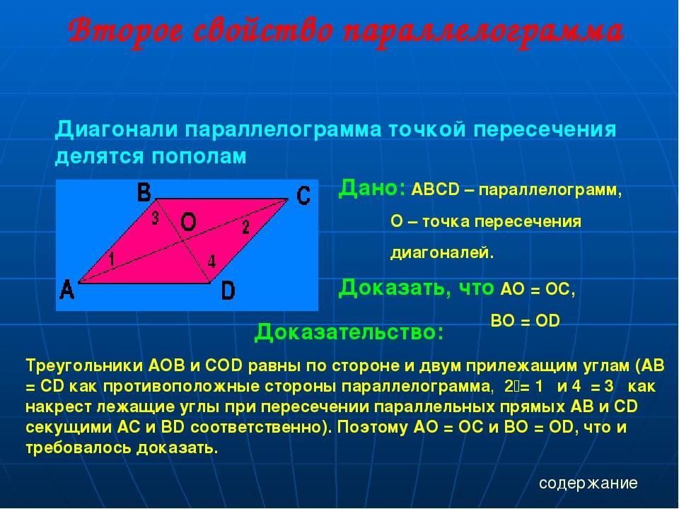 Второе свойство параллелограмма Диагонали параллелограмма точкой пересечения...