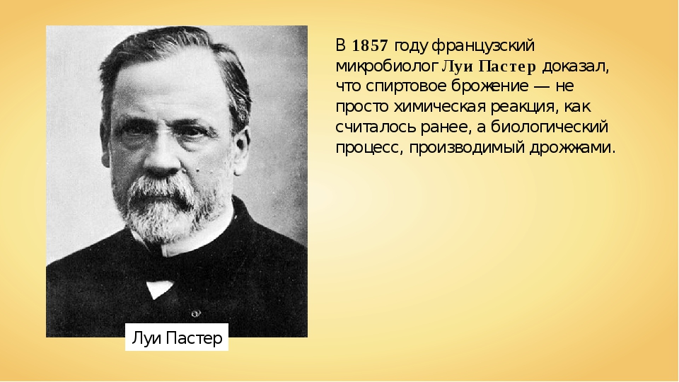 Луи Пастер В1857году французский микробиологЛуи Пастердоказал, что спирто...