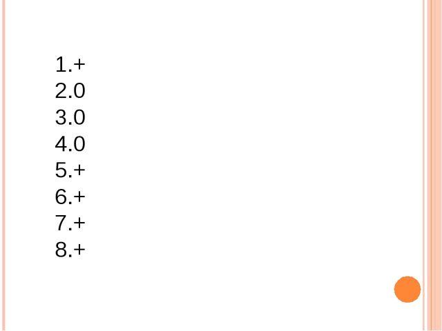 1.+ 2.0 3.0 4.0 5.+ 6.+ 7.+ 8.+