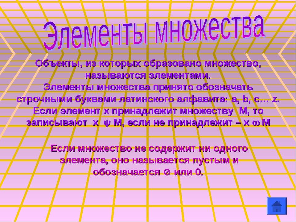 Объекты, из которых образовано множество, называются элементами. Элементы мно...