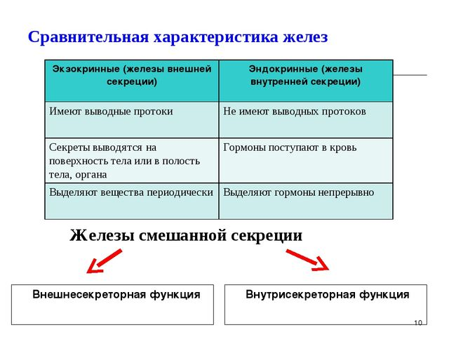 Сравнительная характеристика желез Внешнесекреторная функция Внутрисекретор...