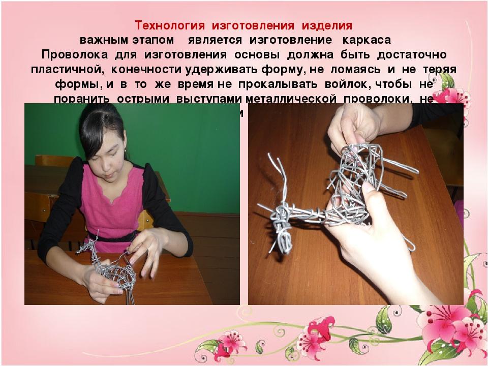 Технология изготовления изделия важным этапом является изготовление каркаса П...