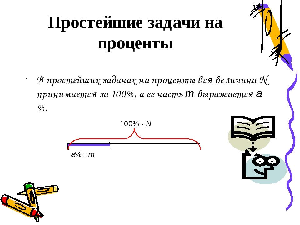 В простейших задачах на проценты вся величина N принимается за 100%, а ее час...