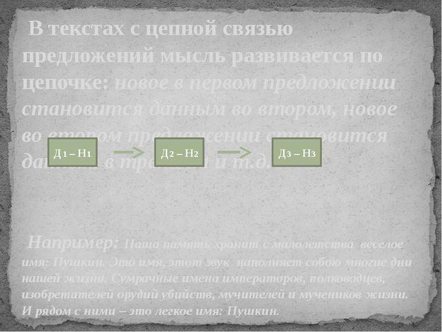 В текстах с цепной связью предложений мысль развивается по цепочке: новое в...
