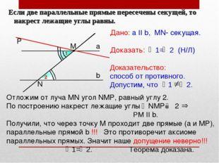 Если две параллельные прямые пересечены секущей, то накрест лежащие углы рав