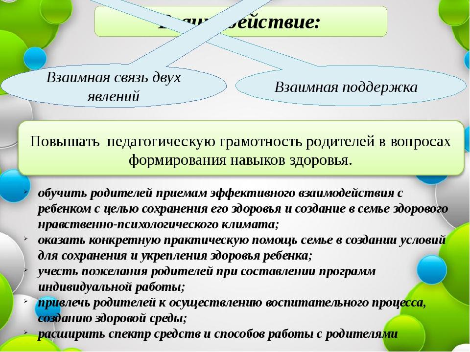 Взаимодействие: Взаимная поддержка Взаимная связь двух явлений Повышать педа...