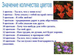 1 цветок - Ты все, что у меня есть! 3 цветка - Хочу уехать с тобой на край св