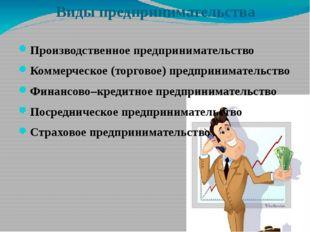Виды предпринимательства Производственное предпринимательство Коммерческое (т