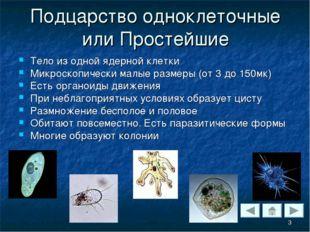 Подцарство одноклеточные или Простейшие Тело из одной ядерной клетки Микроско
