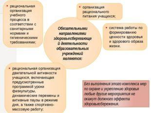 Обязательными направлениями здоровьесберегающей деятельности образовательных