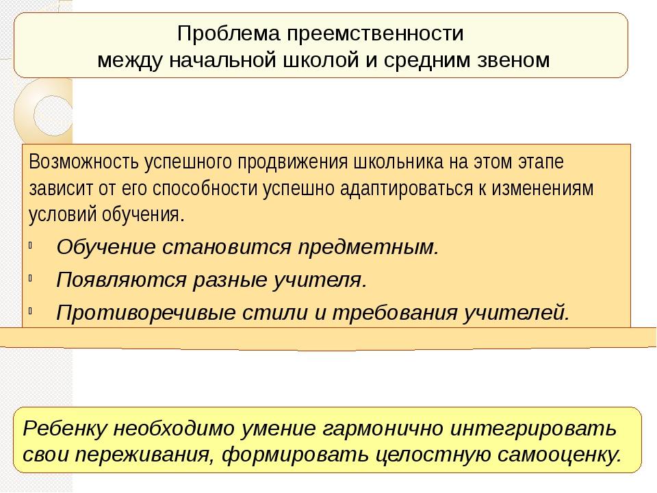 Проблема преемственности между начальной школой и средним звеном Ребенку необ...