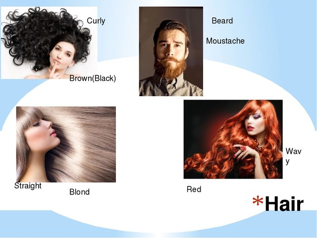 Hair Curly Brown(Black) Straight Blond Red Wavy Beard Moustache