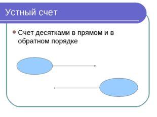 Устный счет Счет десятками в прямом и в обратном порядке