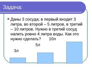 Задача: Даны 3 сосуда; в первый входит 3 литра, во второй – 5 литров, в трети