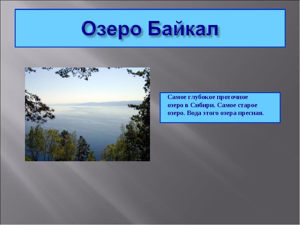 Самое глубокое проточное озеро в Сибири. Самое старое озеро. Вода этого озера...