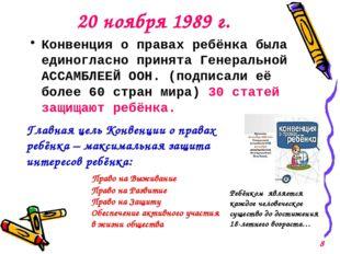 20 ноября 1989 г. Конвенция о правах ребёнка была единогласно принята Генерал