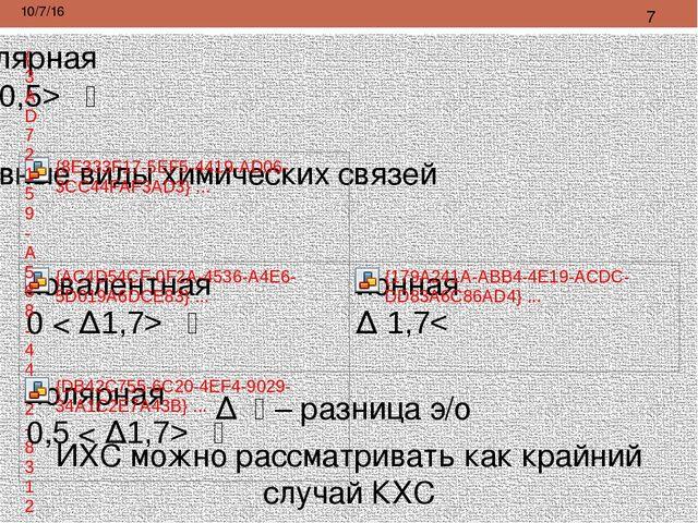Δ א – разница э/о ИХС можно рассматривать как крайний случай КХС