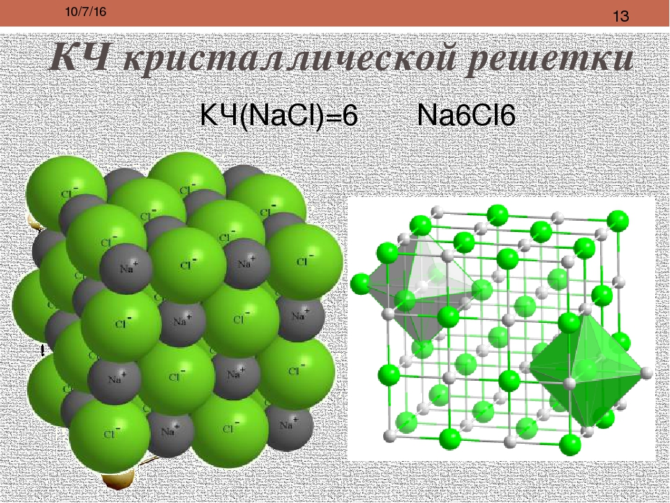 КЧ кристаллической решетки КЧ(NaCl)=6 Na6Cl6