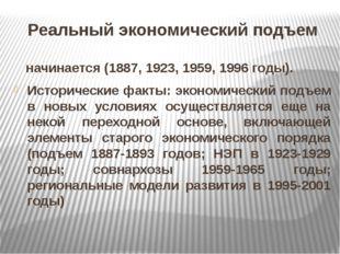 Реальный экономический подъем начинается (1887, 1923, 1959, 1996 годы). Истор