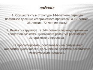 задачи: 1. Осуществить в структуре 144-летнего периода поэтапное деление исто