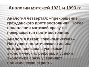 Аналогии мятежей 1921 и 1993 гг. Аналогия четвертая: «прекращение гражданског