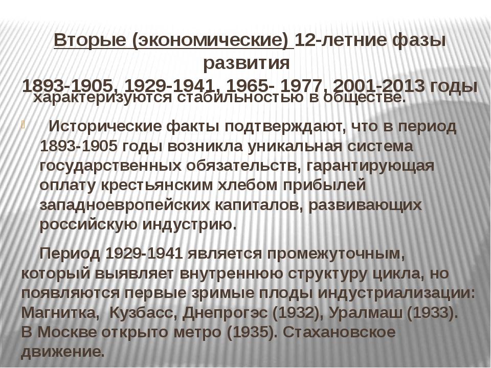 Вторые (экономические) 12-летние фазы развития 1893-1905, 1929-1941, 1965- 19...