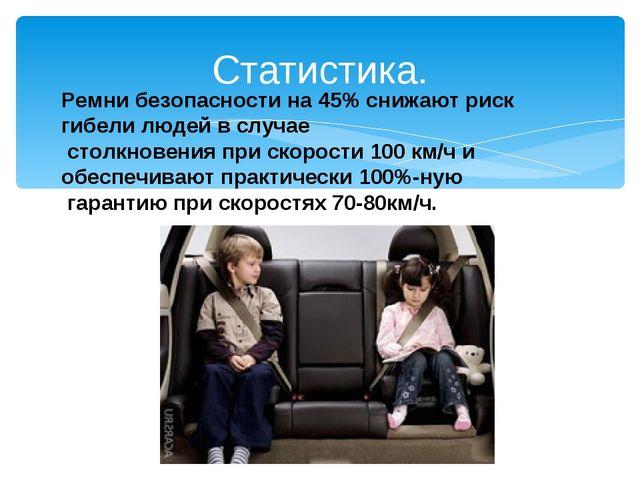 Статистика. Ремни безопасности на 45% снижают риск гибели людей в случае стол...