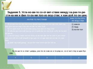 Задание 5. Установите соответствие между характеристиками и фак