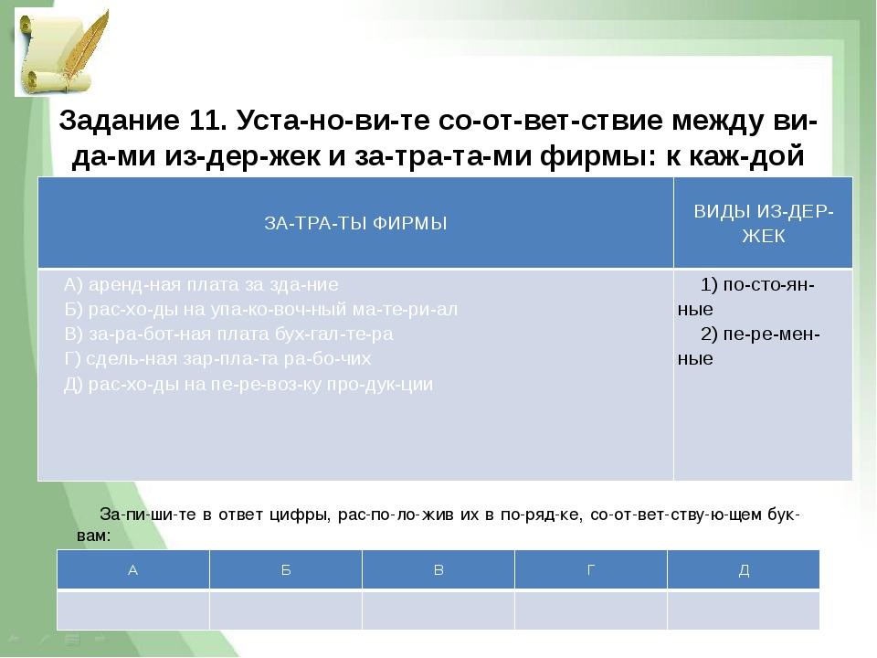 Задание 11. Установите соответствие между видами издержек и затра...