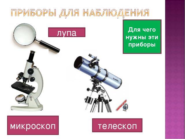 лупа микроскоп телескоп Для чего нужны эти приборы