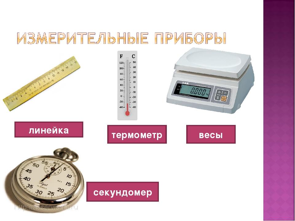линейка термометр весы секундомер