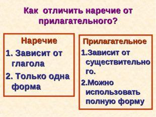 Как отличить наречие от прилагательного? Наречие 1. Зависит от глагола 2. Тол