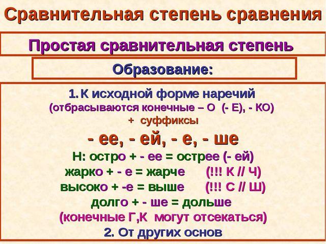 Сравнительная степень сравнения Простая сравнительная степень Образование: К...