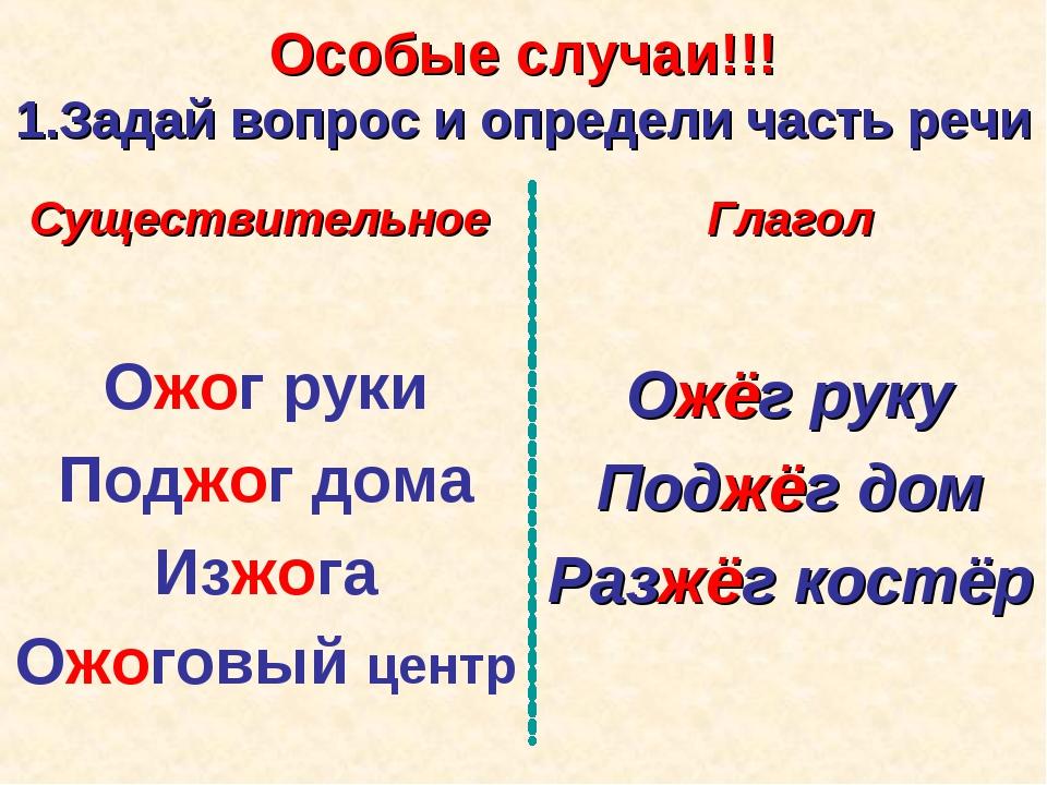 Особые случаи!!! 1.Задай вопрос и определи часть речи Существительное Ожог ру...