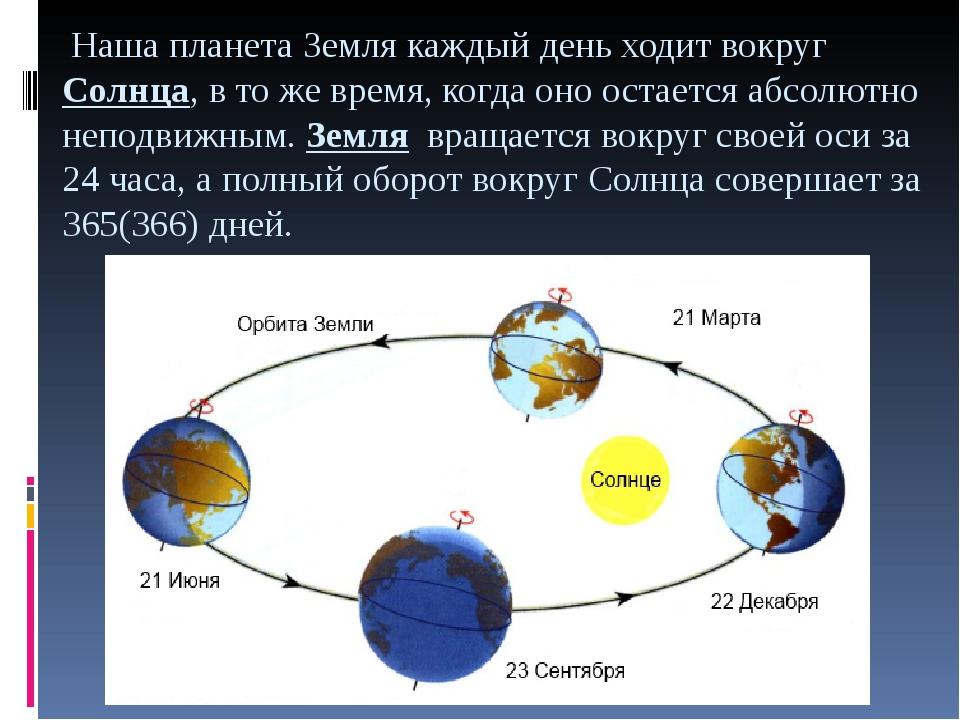 Наша планета Земля каждый день ходит вокругСолнца, в то же время, когда оно...