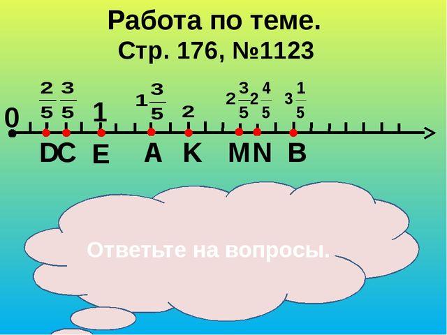 Стр. 176, №1123 Работа по теме. 0 1 C D E B N M K A Что принято за единичный...