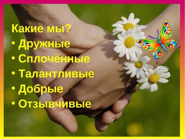 Какие мы? Дружные Сплочённые Талантливые Добрые Отзывчивые