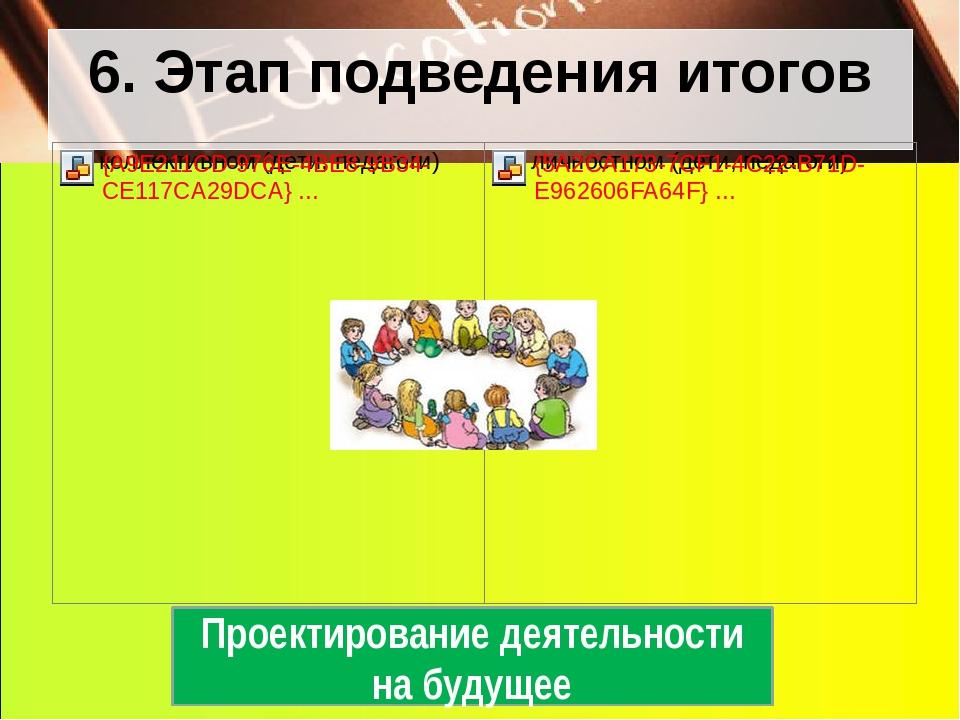 6. Этап подведения итогов Проектирование деятельности на будущее