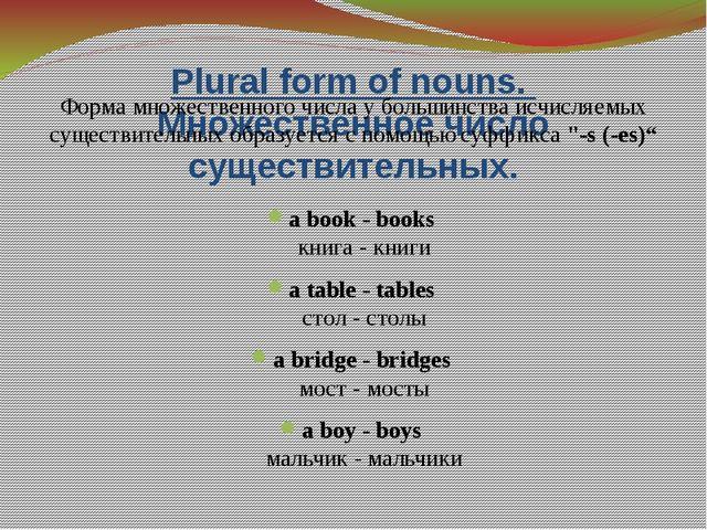 Plural form of nouns. Множественное число существительных. Форма множественно...