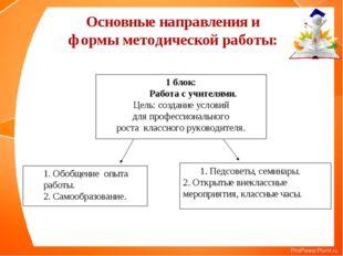 Основные направления и формы методической работы: 1 блок: Работа с учителями.