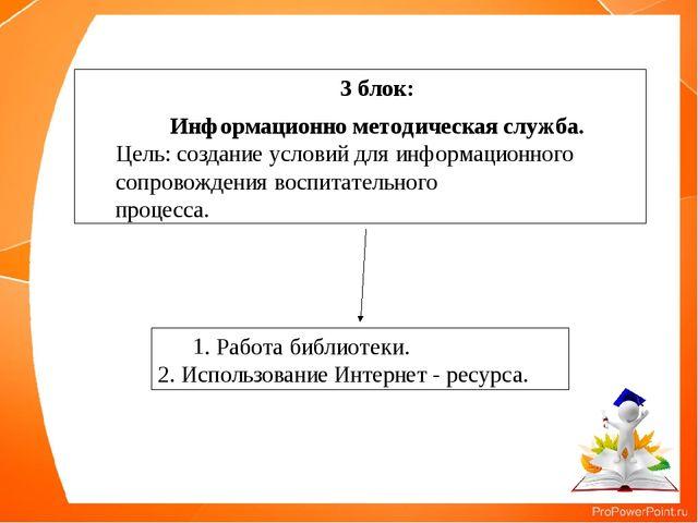 3 блок: Информационно методическая служба. Цель: создание условий для информа...