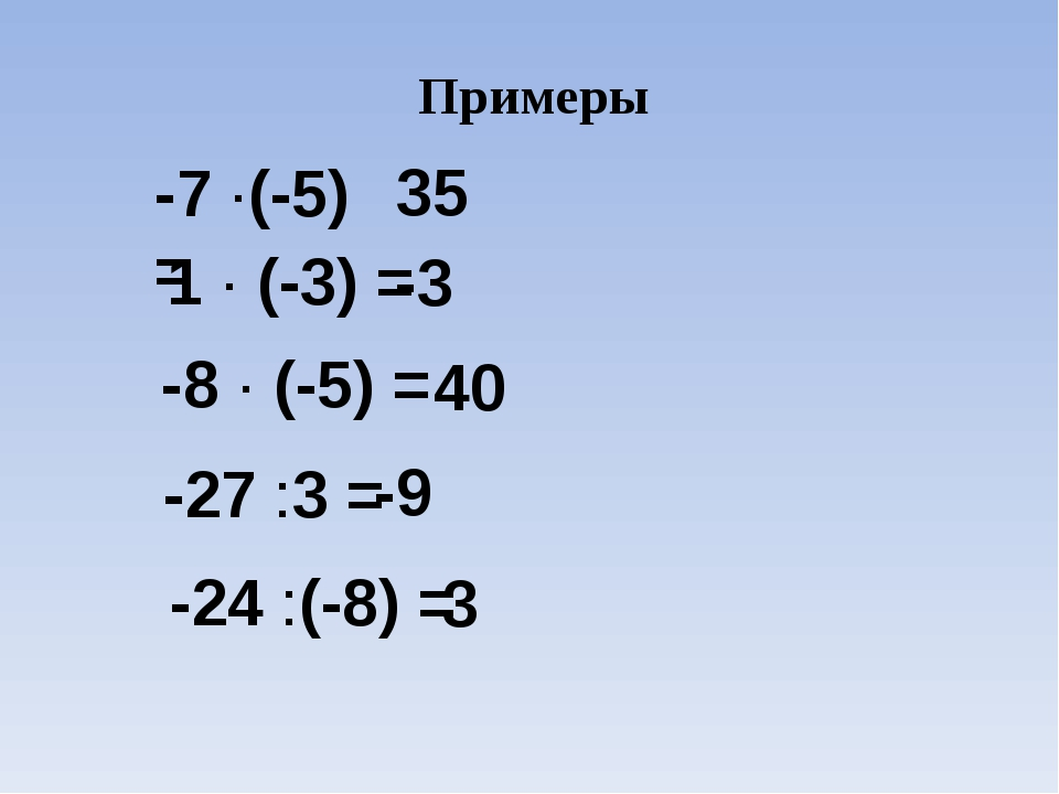 Примеры -7 ·(-5) = 35 1 · (-3) = -3 -8 · (-5) = 40 -27 :3 = -9 -24 :(-8) = 3