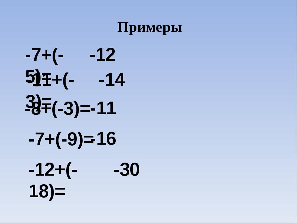 Примеры -7+(-5)= -12 -11+(-3)= -14 -8+(-3)= -11 -7+(-9)= -16 -12+(-18)= -30