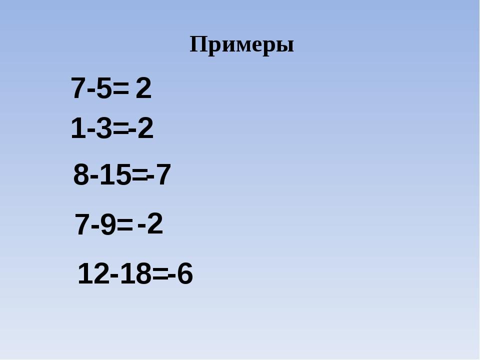 Примеры 7-5= 2 1-3= -2 8-15= -7 7-9= -2 12-18= -6