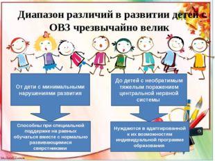 Диапазон различий в развитии детей с ОВЗ чрезвычайно велик От дети с минимал