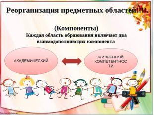 Реорганизация предметных областей!!!! (Компоненты) Каждая область образовани