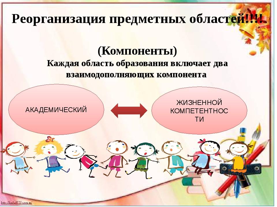 Реорганизация предметных областей!!!! (Компоненты) Каждая область образовани...