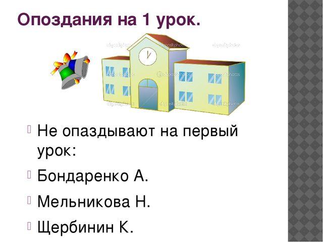 Опоздания на 1 урок. Не опаздывают на первый урок: Бондаренко А. Мельникова...